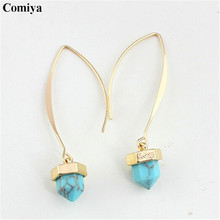 Designer brand blue white Marble Turquoise drop earrings for women pendientes brincos grandes vintage orecchini earring (China (Mainland))