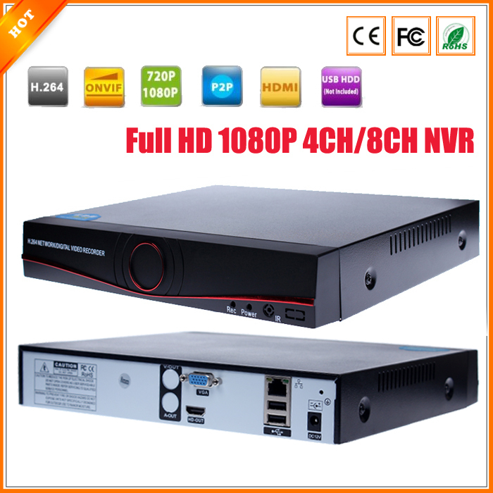 Full HD 1080P CCTV NVR 4CH 8CH NVR For IP Camera ONVIF H.264 HDMI Network Video Recorder 4 Channel 8 Channel NVR(China (Mainland))