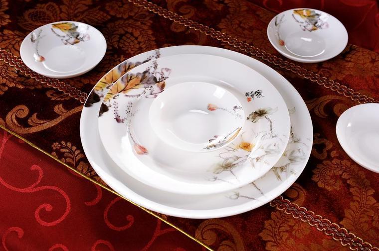 Buy Bowl set 56 Jingdezhen authentic bone china tableware suit pottery bowl spoon coast people cheap