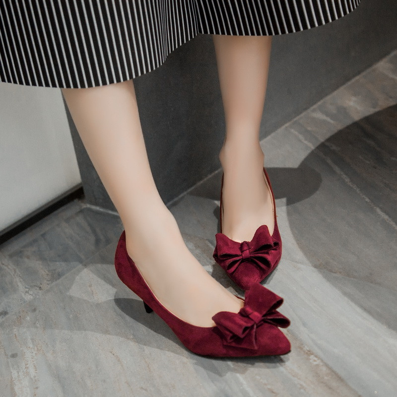 Thin Heels Bowtie Valentine Shoes Sexy Large Size 33cm-43cm Nubuck Leather Wedding Lolita Black Rue Pink Korean Shoes For Women(China (Mainland))