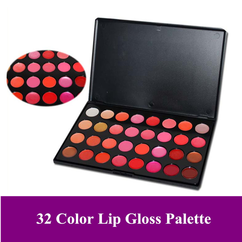 Best selling lip gloss New Pro 32 Color Makeup Lip Gloss lipstick cream gel palette sets 32L, dropshipping!(China (Mainland))