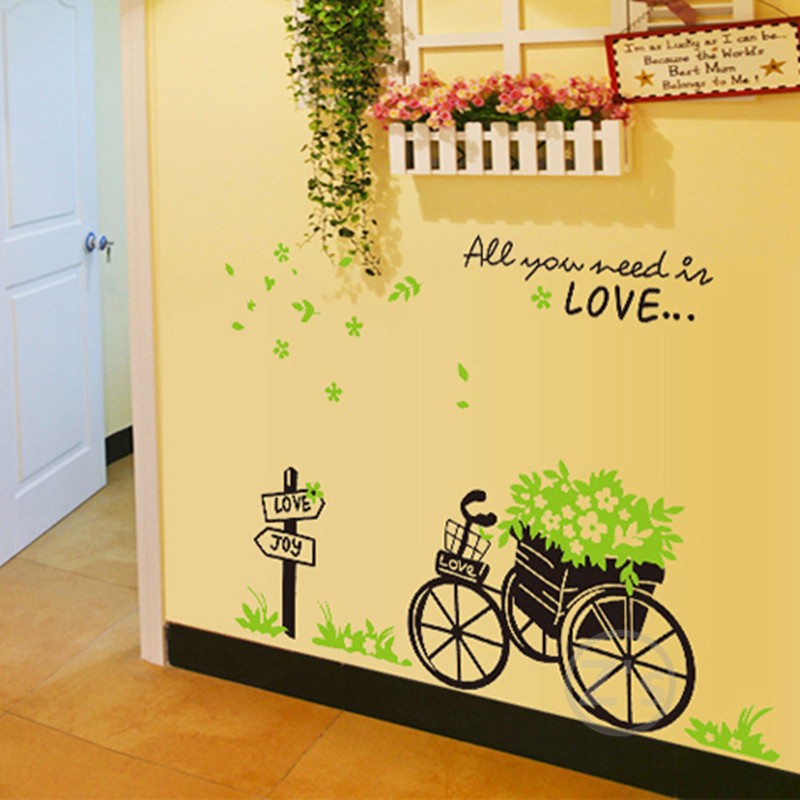 Cheap wall decals bike stickers bicycle wall sticker home for Cheap wall mural wallpaper