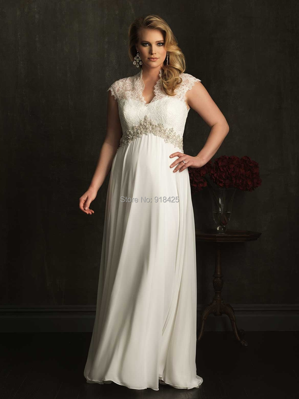 Lace cap sleeve chiffon empire waist plus size maternity for Plus size lace wedding dresses with sleeves