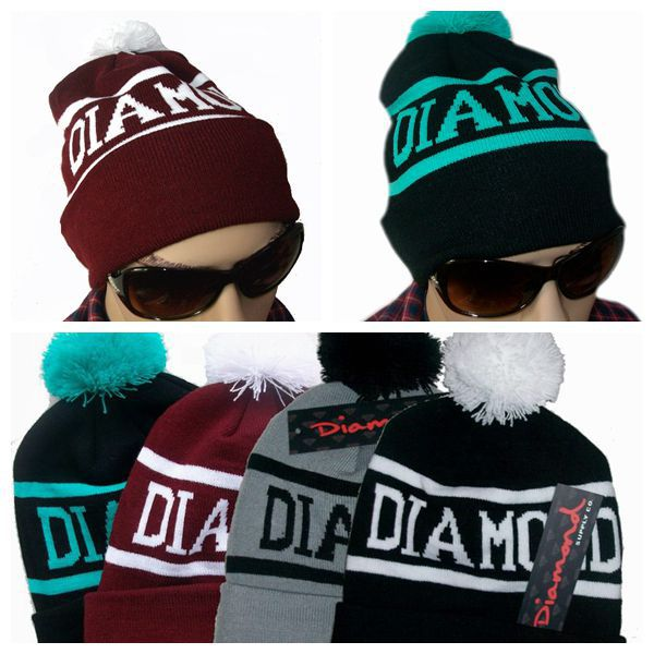 Diamond Supply Co Beanie Hat Popular Skullies Beanies Men And Women Winter Knit Letter Cap 4 Colors Gorras Free Shipping M0280(China (Mainland))