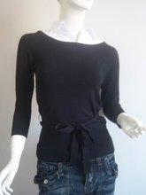 Women's Sweaters and knitted Main Black (White Shirt collar) Material 84%WISKOZA 16%NYLON Size S(China (Mainland))