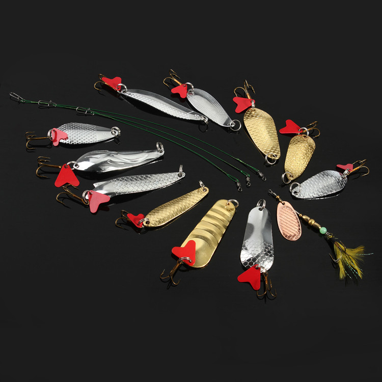 Fishing Tackle 15pcs/lot Fishing Bait 7g-24g Spoon Metal Lure Iscas Artificial Fishing Lure Kit With Line Accessories for Mustad<br><br>Aliexpress