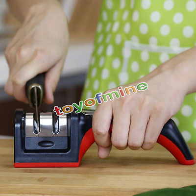 Hard Carbide Ceramic Sharpening Stone 2 Stages Handle Household Knife Sharpener(China (Mainland))