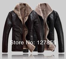 Free shipping 2013 winter mens fur collar genuine sheepskin leather jacket , Big yards warm leather jacket 4XL,5XL,6XL