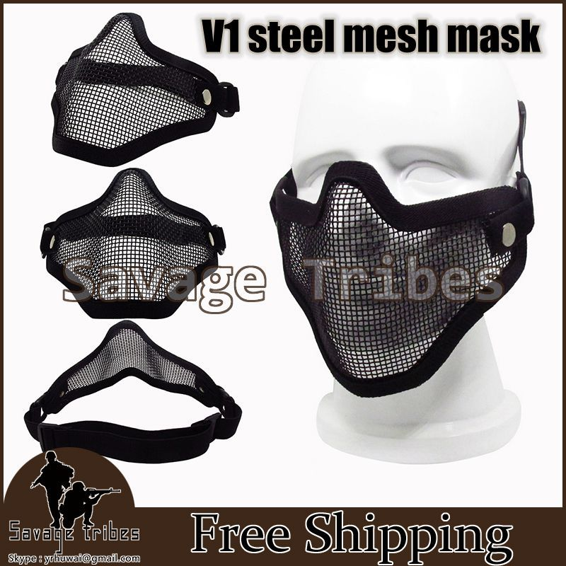 Tactical Hunting Metal Mesh Half Face Mask Mesh war game Mask Paintball Resistant BB mask airsoft safety equipment Black(China (Mainland))