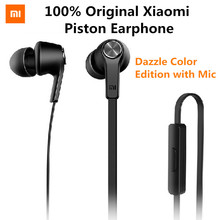 In stock Original Xiaomi Piston In-Ear Stereo Earphone with Mic Earbud Headphone Headset for Smartphone Dazzle Color Edition(China (Mainland))