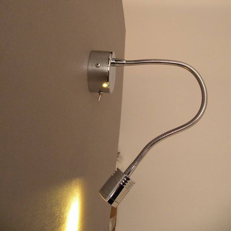 Bedside or Living Room Decorative Wall Light Fixture 3W CREE LED Chrome finish hard wired ...