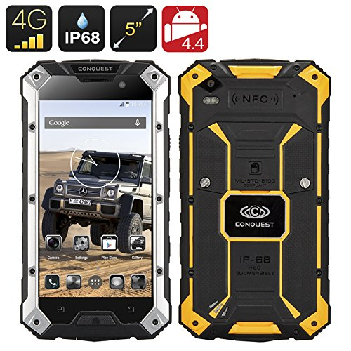Conquest S6 Rugged Smartphone MTK8752 Quad Core CPU, 3GB RAM 32GB ROM 4G, IP68, 5 Inch HD Screen, Android 5.1, NFC
