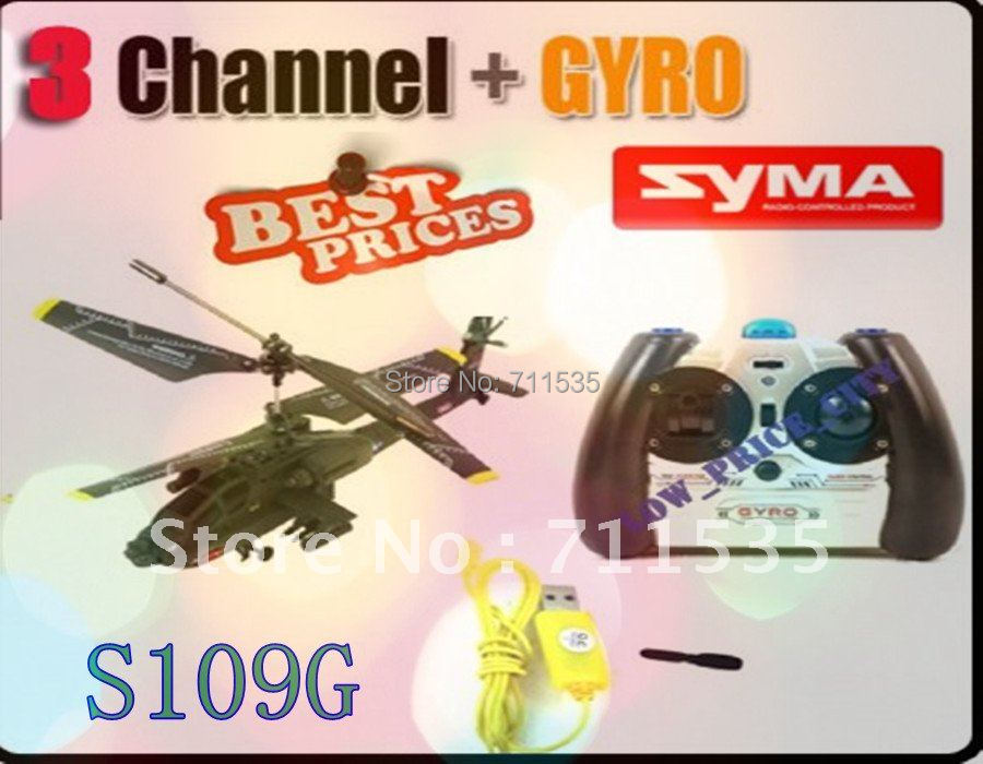3 Channels Syma S109G Mini Infrared Apache Shark Helicopter AH-64 Remote Control Rc Helicopter With Gyro , 3Ch Heli toys(China (Mainland))