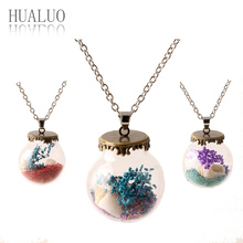 2016 New Top Fashion Jewelry Silver Chain Lovely Girl Shells & starfish Wishing Bottle Necklaces & Pendants For Women NZ2186