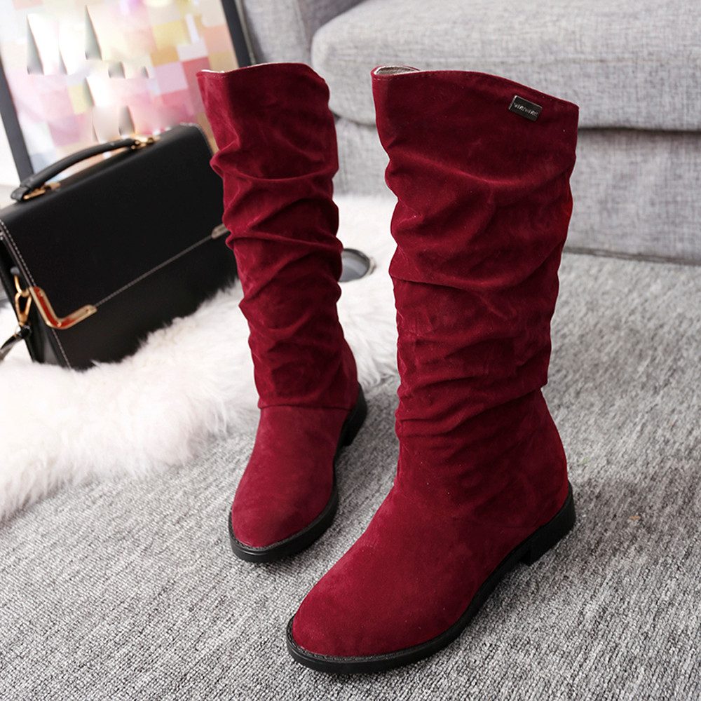 Autumn Winter Women Boots Shoes Ladies Long Sweet Boot Stylish Flat Flock Shoes Snow Boots Female Keep Warm High Quailty Fashion(China (Mainland))