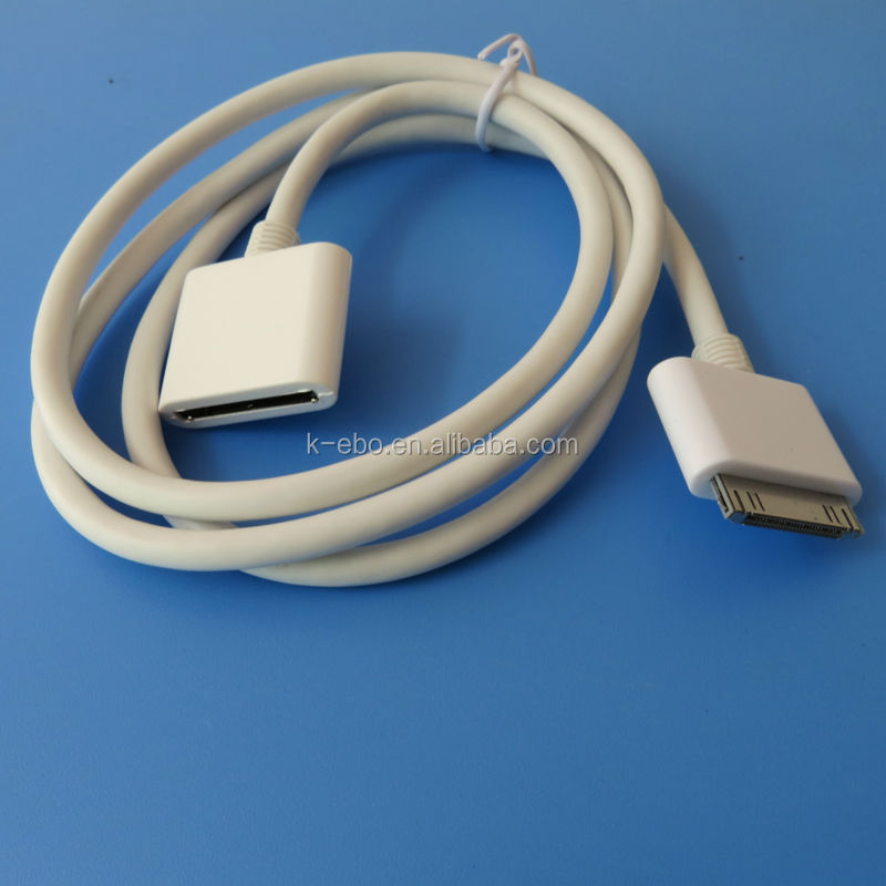 200pcs 30PIN Dock Cradle Extender AV Extension Cable For iPad iPod iPhone DHL FREE SHIPPING(China (Mainland))
