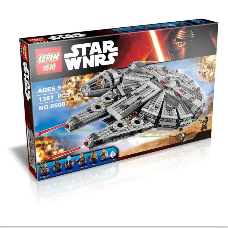 lepin 05007 1381pcs Millennium Falcon constructing blocks bricks marvel minifigures Children Toys Appropriate with legoe Star Wars 75105