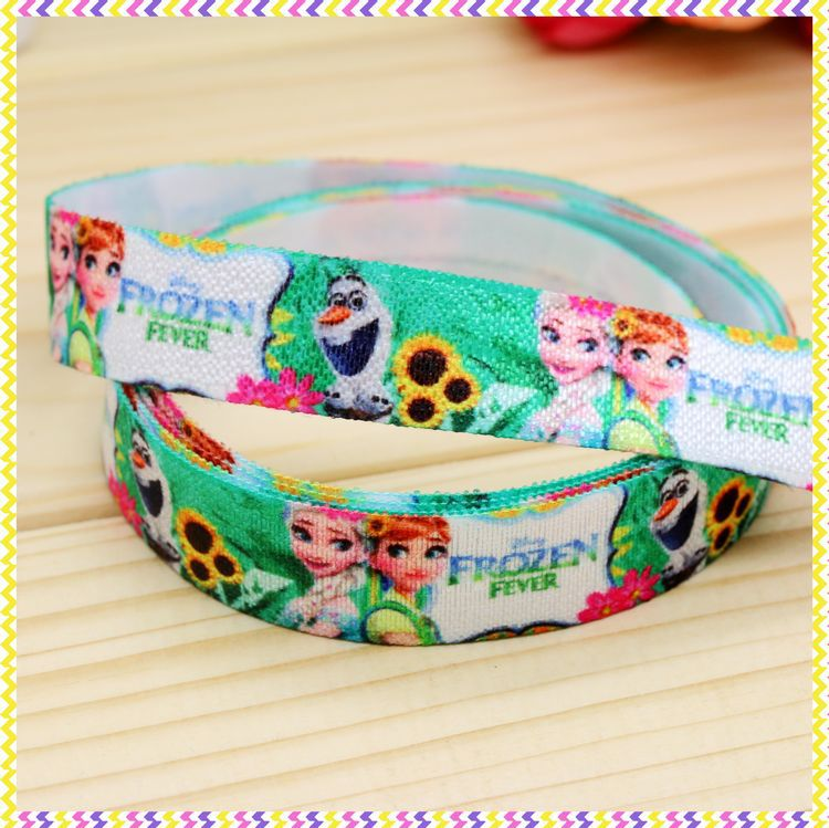 5/8 inch Free shipping Fold Over Elastic FOE cartoon printed headband headwear diy hair band wholesale OEM H3551(China (Mainland))