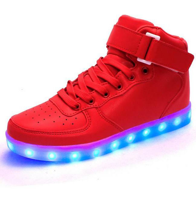 Unisex Led Shoes 8 Colors LED Luminous shoes Men Fashion high-top Light UP LED Shoes for Adults plus size 35-46 free shipping(China (Mainland))