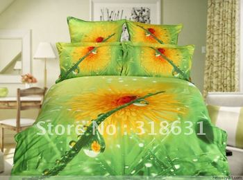 Top quality with nice price oil painting style bedroom set duvet cover bedding comforter set queen Morning dew on the flower