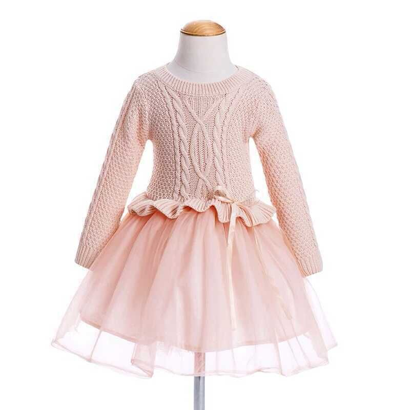 Wholesale New 201511 Children Girls Sweater Mesh Dress Princess Sweaters Stitching Flowers Dress Top Quality 5colors<br><br>Aliexpress