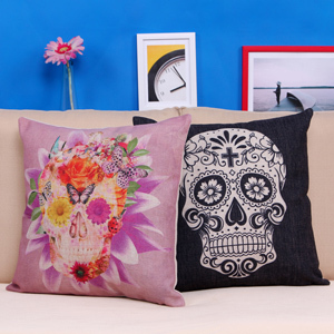 Pillow Geometric Ikea Flower Skull And Black White Skull Home Accesorries Cushion Covers Pillow Cases Cojines Decorativos Ikea(China (Mainland))