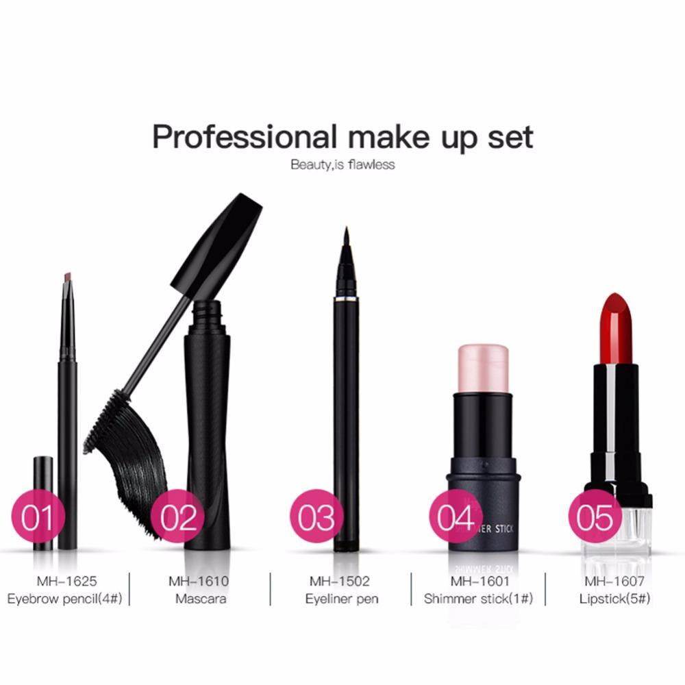Value 5pcs Makeup Set Mascara cream Eye pencil Liquid eyeliner Shimmer stick Lip gloss Eyes Lips Makeup Kit Cosmetics Gift Set