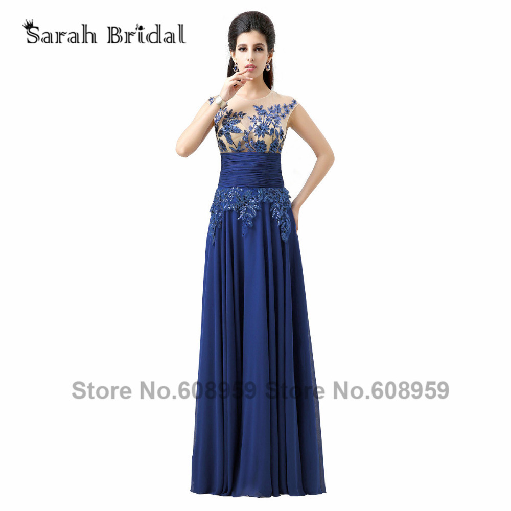 2015 Hot Royal Blue Sequined Evening Dresses Sexy Sheer Prom Dresses In Stock Chiffon A-line Special Occasion Dresses SD159(China (Mainland))