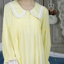 8ebd73b734d0 Long sleeve Nightgown Loose Nightdress Autumn Vintage Homewear Dress Sleepwear  Yellow White Nightgowns(China)