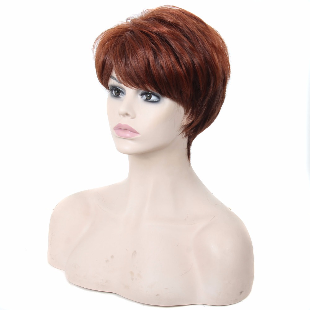Heat Resistant Synthetic Hair 4 Inches Short Bob Wigs With Bangs Natural Looking Layered P4-350 Brown Dark Wine Red Women's Wigs(China (Mainland))