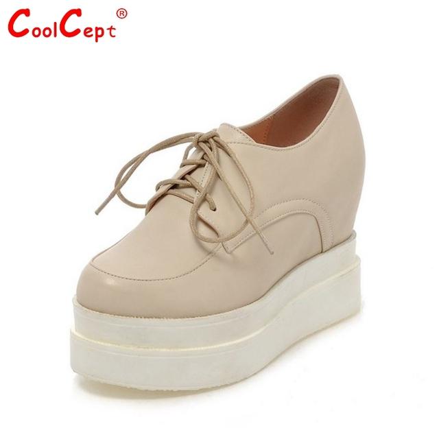 Женщины высокой платформе обувь лакированная кожа звезды леди вскользь клин обувь ...