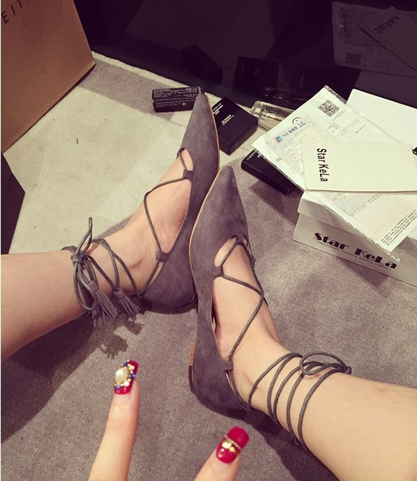 new spring and summer 2015 point female sandals shallow mouth flat ankle strap belt for women