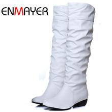 Enmayer Plus size 43 moda nuevo invierno de la llegada mediados de la pantorrilla botas negro blanco marrón pisos botas media tacones altos cargadores otoño zapatos de nieve(China (Mainland))