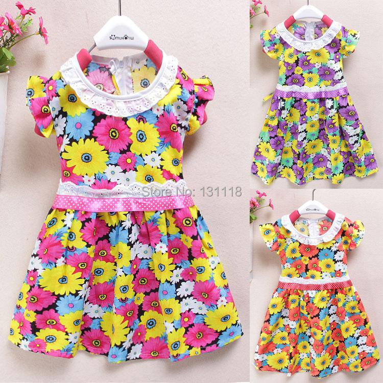 2015 New 1-5 age summer baby girls dresses ,Cotton flowers kids dresses for girls,Fashion Knee-length little girls dresses(China (Mainland))