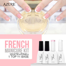 Azure New Soak Off Gel Polish White Pink French Manicure Nail Top Base Coat Free Tip Guides Drop Free Shipping Nail Polish 12ml