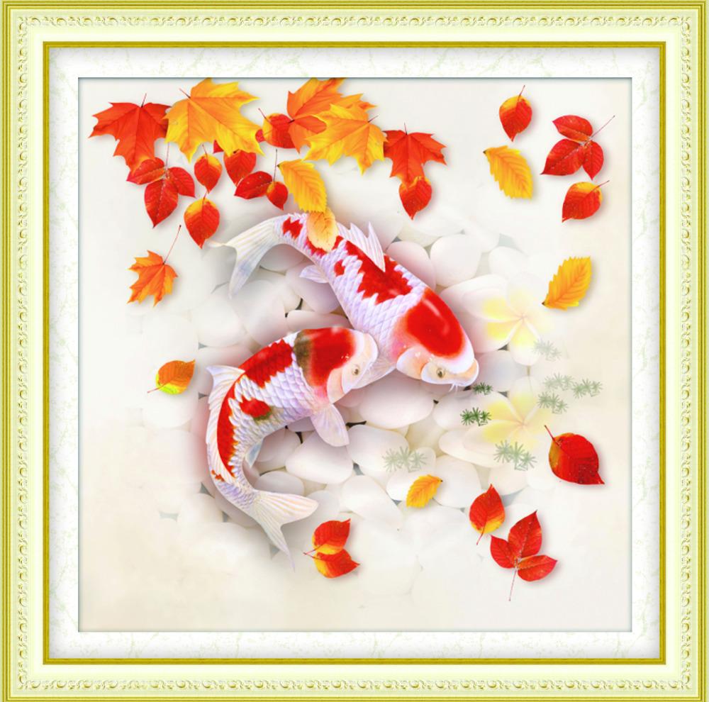 49*49 cm 5D Diamond Embroidery Fancy Carp DMC 447 Colours Diamond Embroidery Wholesale Felt DIY Diamond Mosaic Fish Painting(China (Mainland))