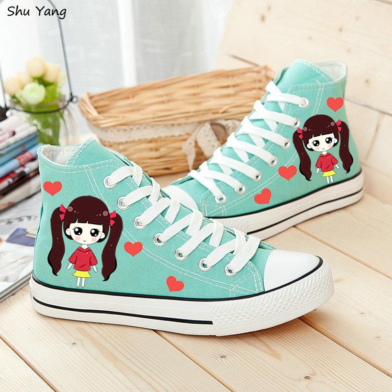 Women's Mint Casual High Top Canvas Shoes Girl DIY Graffiti Cartoon Hand Painting Ladies Fashion Flats Female Zapatos Mujer(China (Mainland))