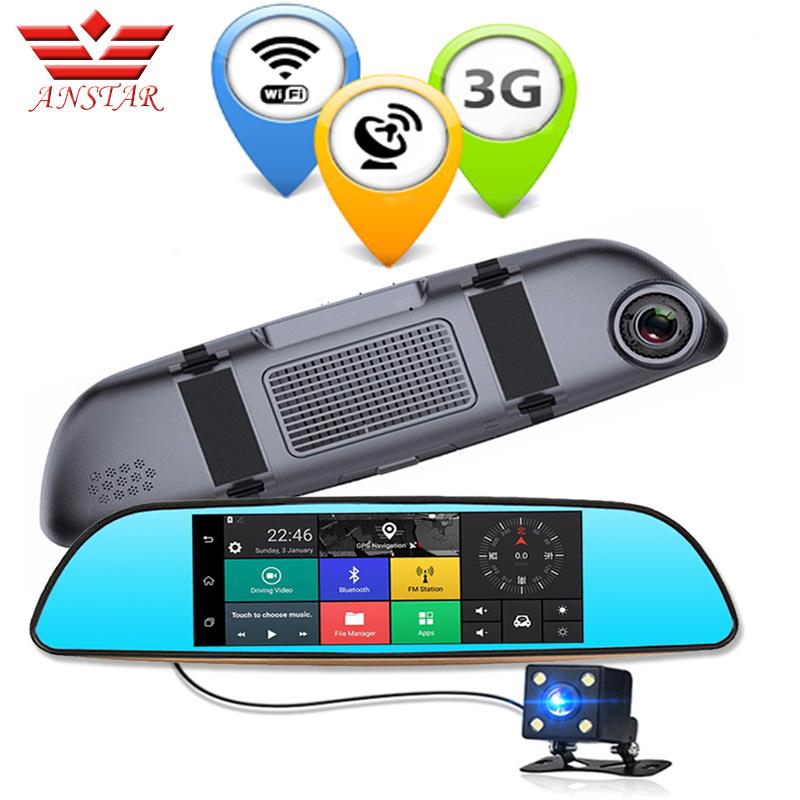ANSTAR 7 inch 3G Car DVR Camera GPS Bluetooth Dual Lens Rearview Mirror Video Recorder FHD 1080P Automobile DVR Mirror Dash cam(China (Mainland))