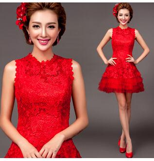 Bride lace Evening Dresses short 2015 Romantic vestidos de fiesta dress party evening elegant 2030 Free ship(China (Mainland))