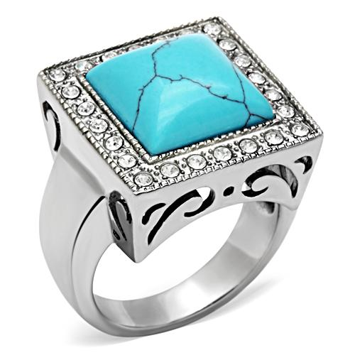Love Accessories-High Quality Ring Men Synthetic Turquoise Stainless Steel High Polished Male Fashion Jewelry Ring Free Shipping(China (Mainland))