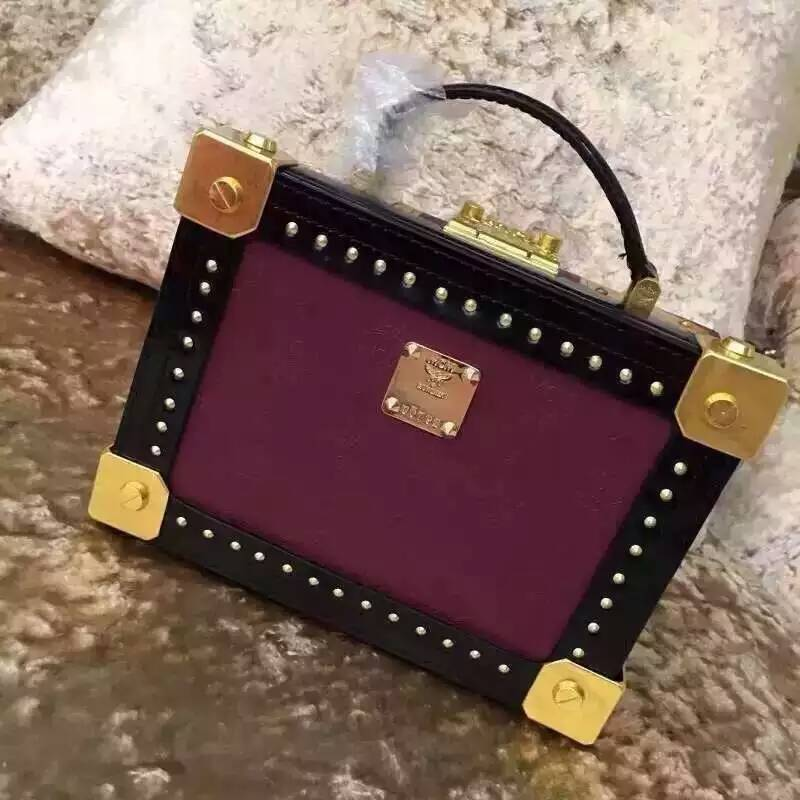 2015  Women Rivet Squared Trunk Handbag Purple,black Stereotypes Totes For Women<br><br>Aliexpress