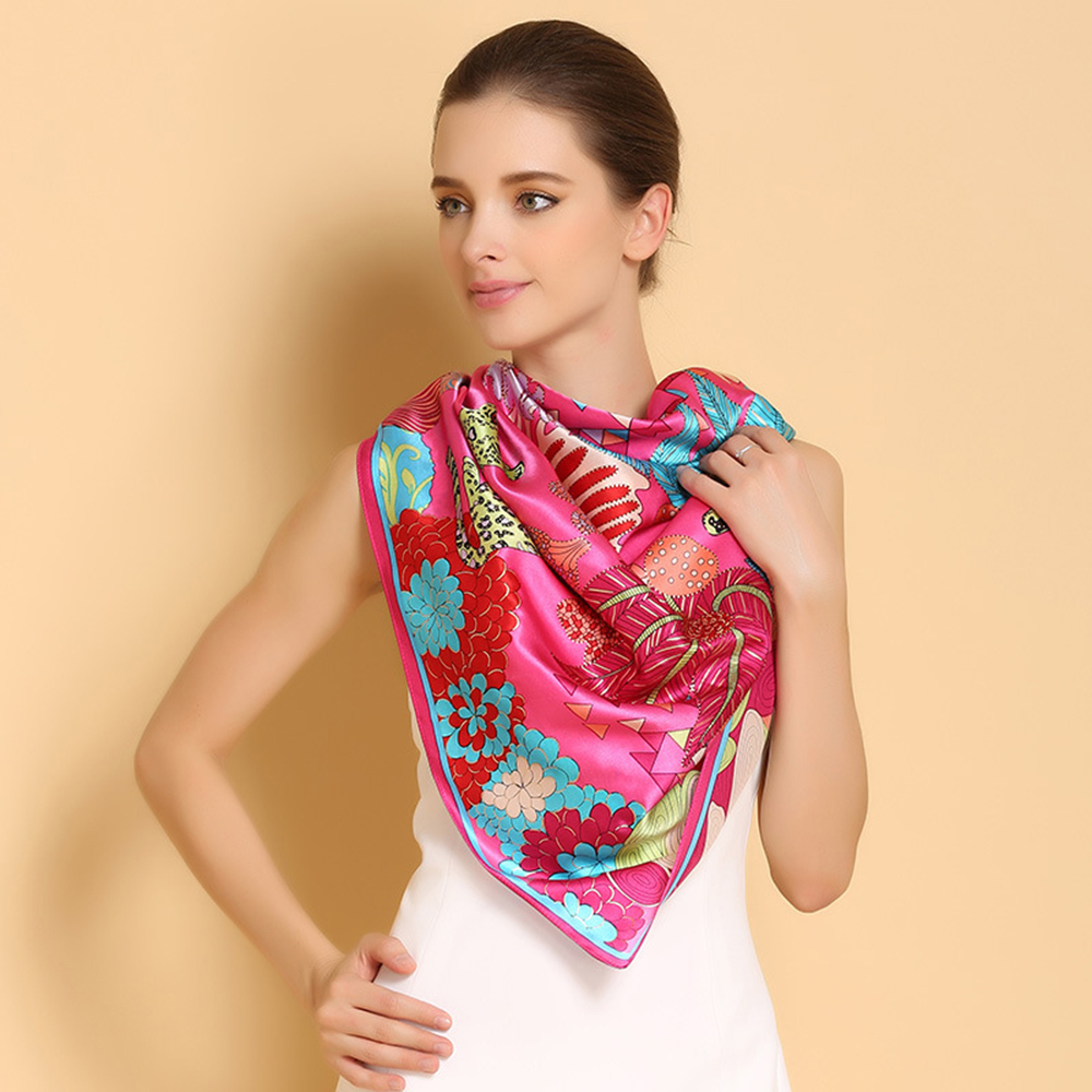 100% Natural Silk Square Scarves Fashion Scarf Shawl High Quality Women White Collar OL Silk Scarf Large Size 110 x 110cm F520(China (Mainland))
