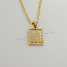 "Free Shipping/Min order 10$/ 18K YELLOW GOLD OVERLAY FILLED BRASS 24"" CUBAN NECKLACE&LETTER M INITIAL PENDANT/Great Gift/(China (Mainland))"