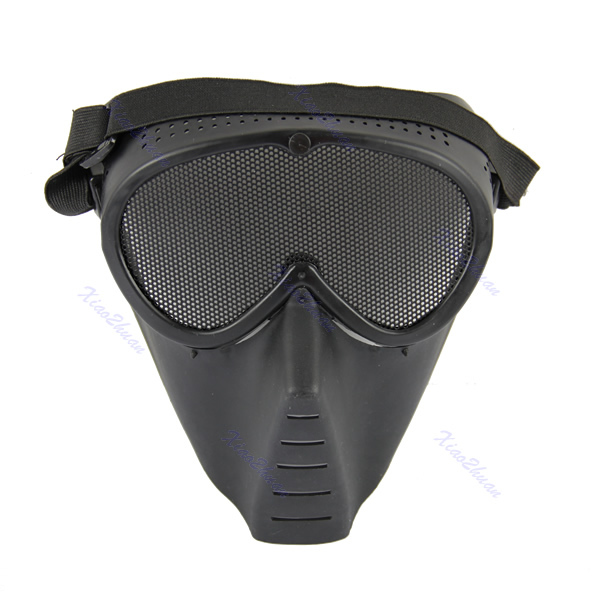 J34 Free Shipping Paintball Airsoft Gear Full Face Eyes Nose Wear Protector Safety Guard Mesh Mask(China (Mainland))