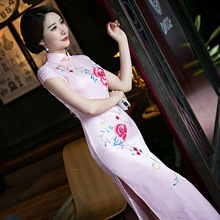Buy New Arrival Vintage Chinese Style Women Long Silk Cheongsam Qipao Summer Novelty Print Sexy Dress S M L XL XXL F081253 for $45.90 in AliExpress store
