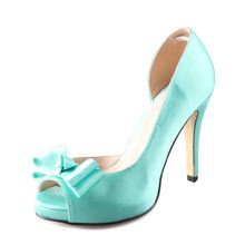 Handmade Cyan mint Blue blue D'orsay bow bowknot shoes custom made pumps bridal wedding party evening dress shoes small big size(China (Mainland))