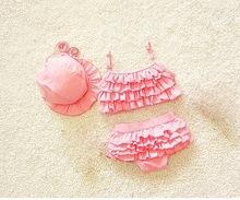 Baby princess solid pink Swimsuit Tankini cute Swimwear Bathing two pieces hat kids girls Beachwear lovely bikini swimming wear