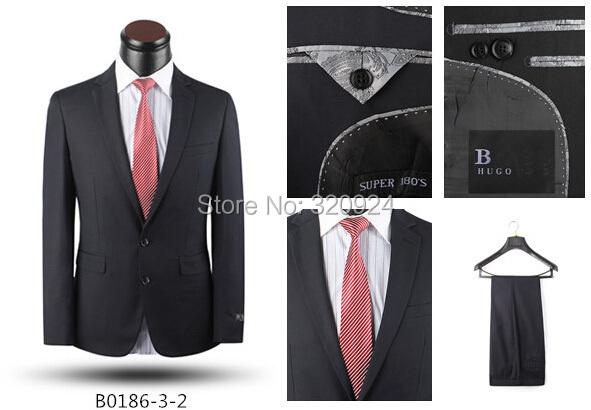 Мужские костюмы 2-piece марка мужчины бизнес костюмы черный / синий приталенный fit