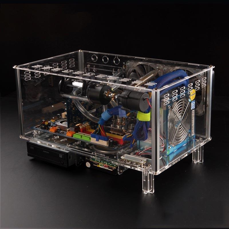 QDIY PC-D779X Colorful Horizontal ATX Acrylic Transparent Desktop PC Water Cooling Computer Case(China (Mainland))