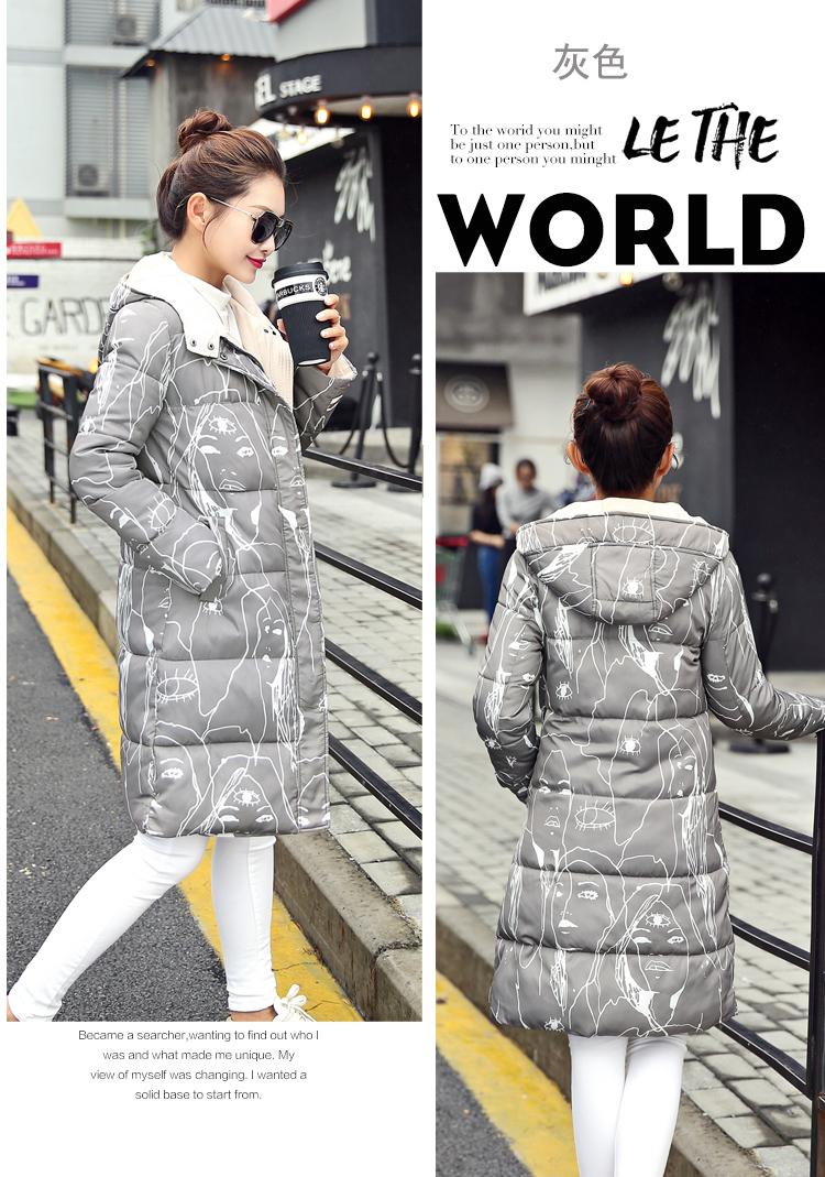 Скидки на Новый женщина зимы куртки 2016 повседневная с капюшоном длинные рукавом молнии хлопок пальто на вате дамы толстая плюс размер теплый парки